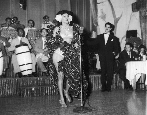 A Cuban rhumba dancer named Zulema performs on stage with a band at the Zombie Club on Zulueta Street, Havana, Cuba, February 16, 1946. (Photo by Hulton Archive/Getty Images)
